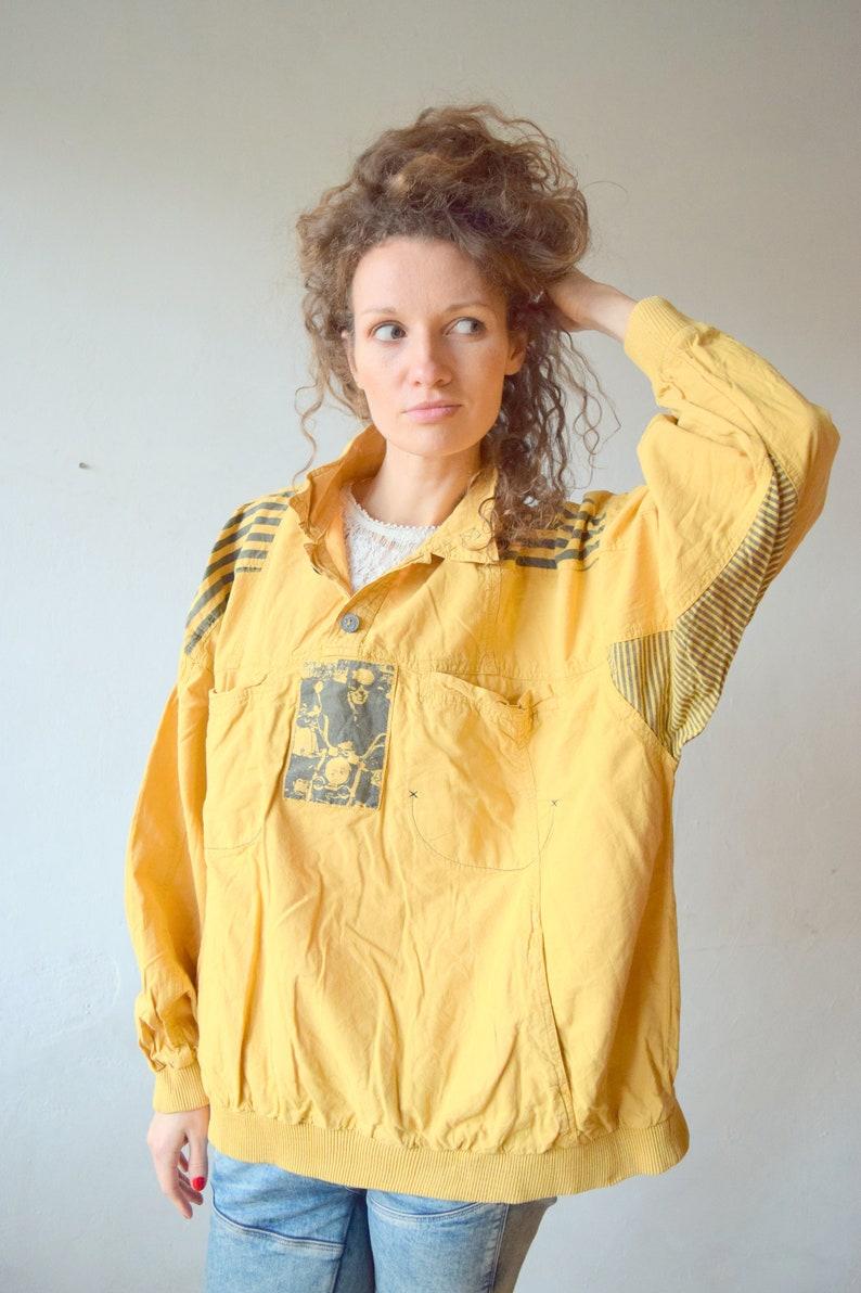 men jumper ML activewear women sportswear yellow pullover vintage sweater vintage sweatshirt cotton sweater Vintage anorak
