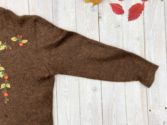 Brown mohair sweater - Women's floral pullover - … - image 3