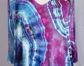 Women 39 s, Size Medium, Ice Dye, Tie Dye, Tunic, Short Sleeve, Cold Shoulder, V Neck, Agate, Geode, Boho,Hippie, One Of A Kind, FREE SHIPPING