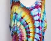 Women 39 s, Size Small, Ice Dye, Tie Dye, Tunic, Half Sleeve, Cold Shoulder, V Neck, Hippie, Boho, Colorful, One Of A Kind, FREE SHIPPING