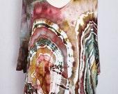 Women 39 s, Size Medium, Ice Dye, Tie Dye, Tunic, Half Sleeve, Cold Shoulder, V Neck, Hippie, Boho, Agate, Geode, One Of A Kind, FREE SHIPPING