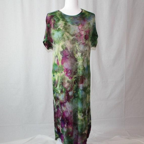 M-Striking ice dye midi rayon dress size MEDIUM