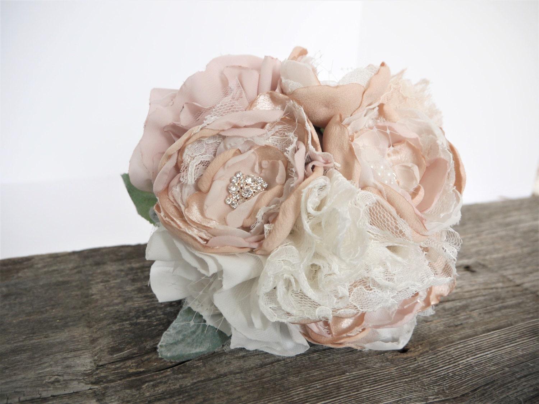 Shabby chic flower bouquet brooch bouquet fabric flower peony dusty miller blush ivory romantic bridesmaid bouquet zoom izmirmasajfo