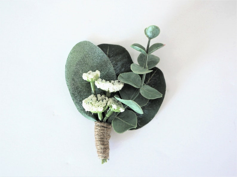 Romantic Eucalyptus Boutonniere  Eucalyptus Lambs Ear Queen image 0