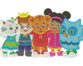 Daniel Tiger and Friends Neighborhood Filled Embroidery Design 3 sizes instant download