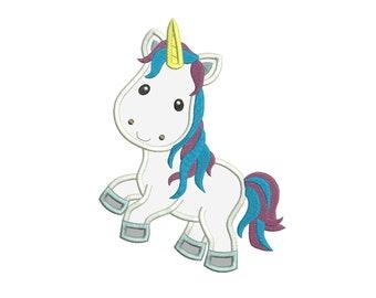Unicorn Applique Designs 3 sizes instant download