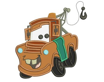 Mater From Disney Cars Machine Applique Design 3 sizes instant download