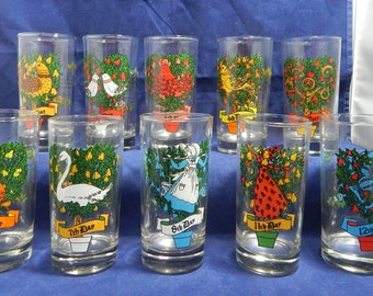 12 days of christmas vintage beverage glasses 12 ounces 10 glasses used 9th day and 10th day missing great condition