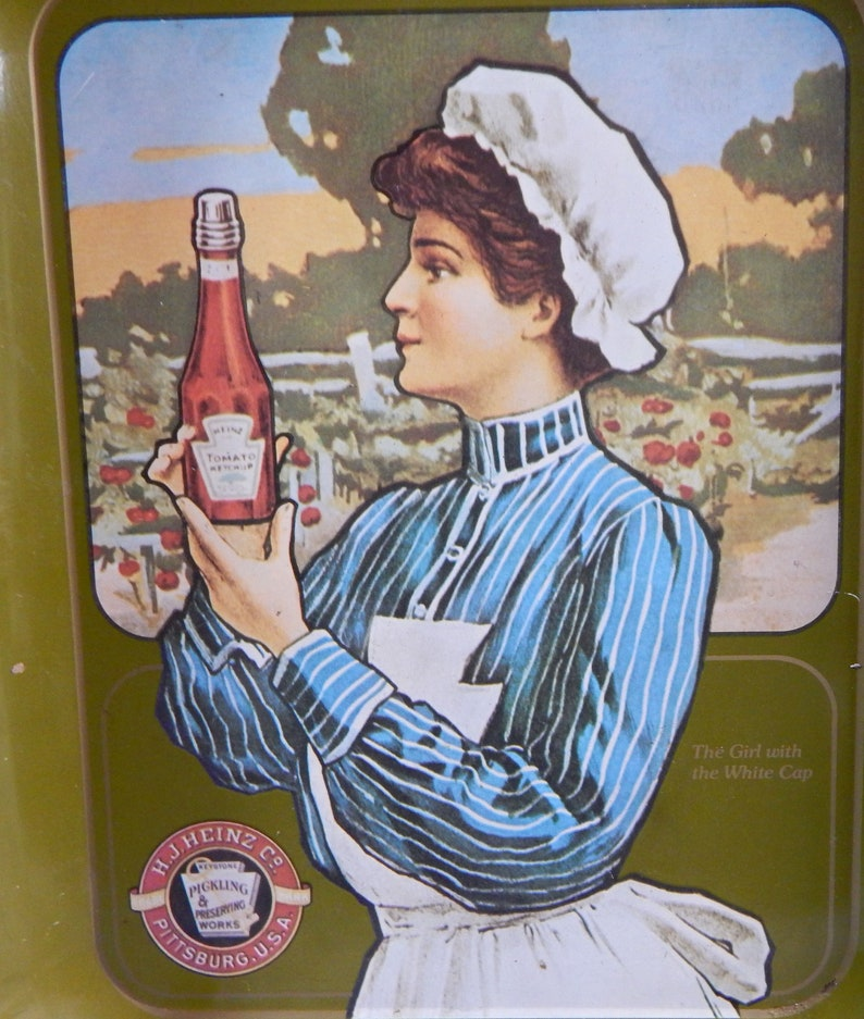 1975 Advertising Tray The Girl With The White Cap Heinz Ketchup Tray H.J Heinz Co Metal Serving Tray