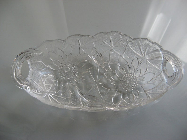 Glass Poinsettia Candy Dish