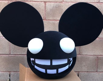 deadmau5 head halloween costume in black with teeth led lights for adults and kids