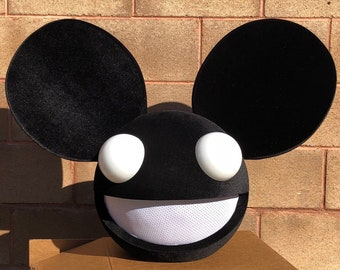 deadmau5 head halloween costume in black with led lights for adults and kids