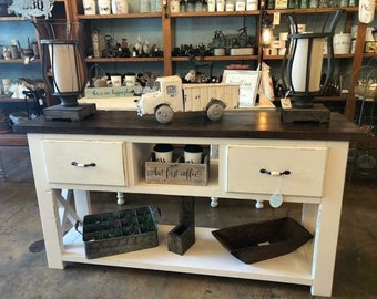 Rustic Farmhouse X Console Table With Drawers
