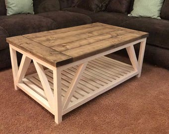 rustic coffee table etsy. Black Bedroom Furniture Sets. Home Design Ideas
