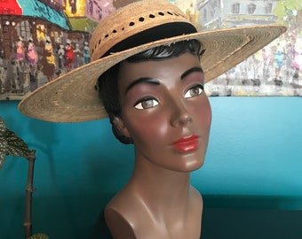 Vintage Style Straw Sun Hat with Black Cotton Hat Band and Tie Loops Great  Condition 07b16ac5159