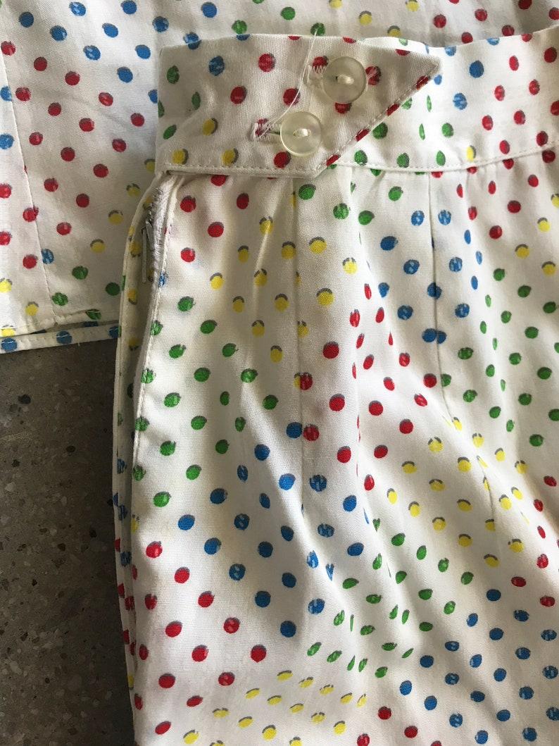 Early 60/'s Matching Shirt and Shorts Set Cotton Multicolored Polka Dots Print