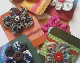 Handmade fabric flower brooches