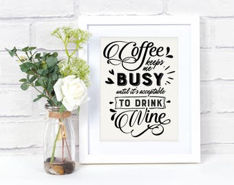Coffee Wall Art, Coffee Bar Sign, Coffee Bar, Wine Sign, Coffee & Wine, Coffee Bar Decor, Coffee Sign, Coffee Lover Gift, Office Decor