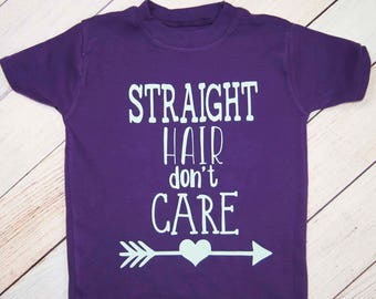 Straight Hair Don't Care Kids Shirt - Straight Haired Girl - Arrow Heart - Purple Toddler Shirt - Girls Hair Shirt - Wild and Crazy Hair