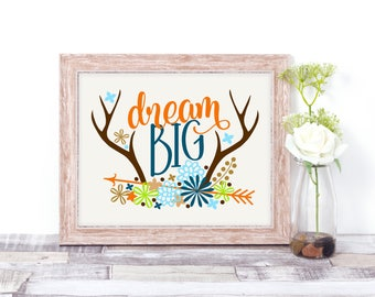 Dream Big Wall Art - Deer Antlers Printed Quotes Wall Art Decor - Graduation Gift - Kids Room Decor - Nursery Wall Print - Shower Gift