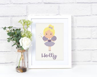 Personalized Girl's Fairy Wall Art - Fairy Decor - Girls Room Decor - Personalized Print - Name Wall Art Print - Nursery Room Decor