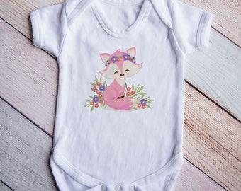 Fox Bodysuit, Woodland Bodysuit, Fox Baby Shower Gift, Pink Fox, Baby Girl Clothes, Baby Girl Gift, Fox Baby Shower Gift, Baby Birthday Gift