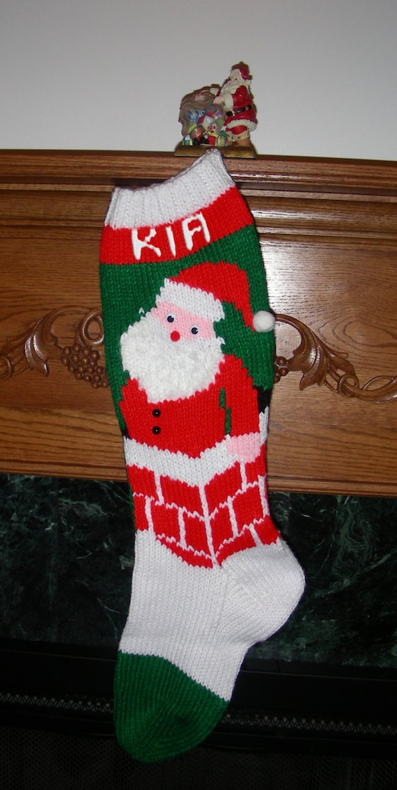 Knitted Christmas Stocking Pattern Santa\'s | Etsy
