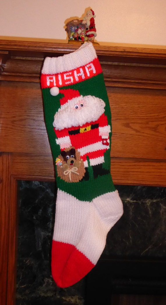 Knitted Christmas Stocking Pattern Ho Ho Ho | Etsy