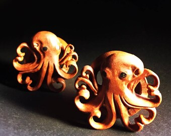 Hand Carved Octopus   Sawo Wood   6mm-25mm   1 Pair