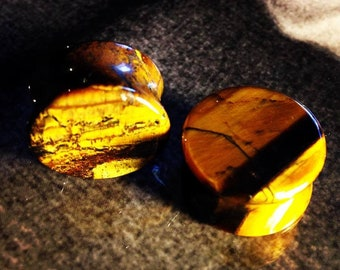 Premium Tigers Eye Stone Plugs   Double Flare   5mm-25mm   1 Pair  