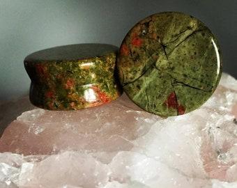 Premium Unakite Stone Plugs   Double Flare   5mm-25mm   1 Pair  