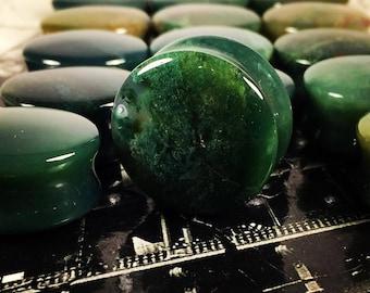 Premium Organic India Agate Stone Plugs   Double Flare   5mm-22mm   1 Pair  