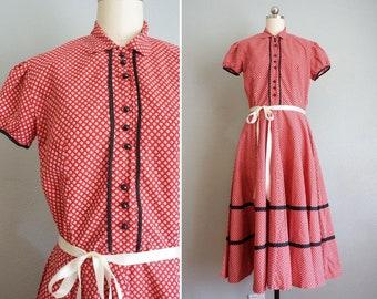 vintage 50s red floral cotton dress vintage 40s red cotton dress 1940s1950s Frances cotton floral dress vintage cotton day dress