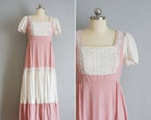 1970s Dusty Rose prairie dress vintage 70s prairie dress vintage pink 1970s cotton bohemian dress