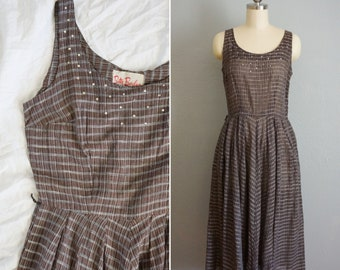 681f2036643c 1950s Good Company plaid day dress | vintage 50s rhinestone brown plaid | 50s  fit and flare | 50s Betty Barclay dress