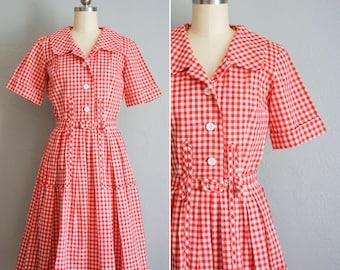 dc52602844ed 1950s Lunching Lakeside gingham cotton dress | vintage 50s gingham dress |  50s handmade vintage red sun dress