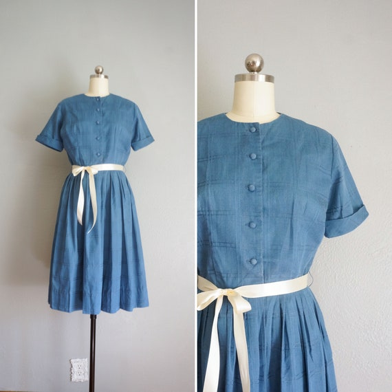 1950s Blue Skies cotton dress | vintage 50s day dr