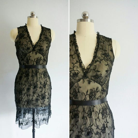 1990s Roza silk lace slip dress | 90s vintage silk