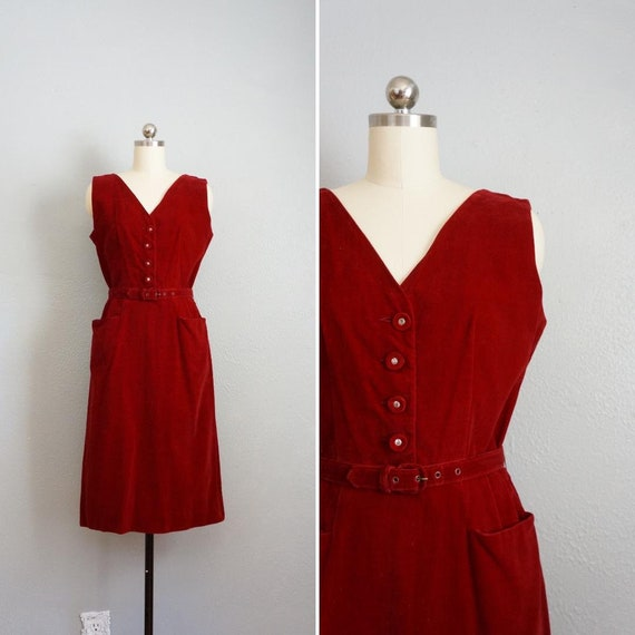 1950s Wounded Dove Red Velvet wiggle dress | vinta