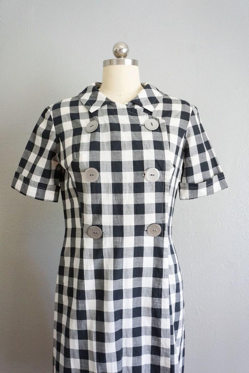 1950s Market Days cotton gingham dress vintage 50s handmade plaid dress 50s cotton sundress