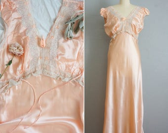 1940s See You at Dawn slik satin gown | vintage 40s pink slik gown | vintage 40s slik slip dress medium