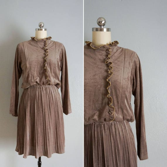 1980s Timber velvet dress | vintage 80s velvet dr… - image 1
