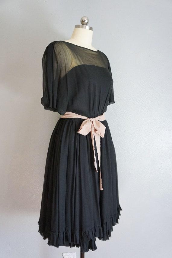 1950s Claudia black silk chiffon dress   vintage … - image 4