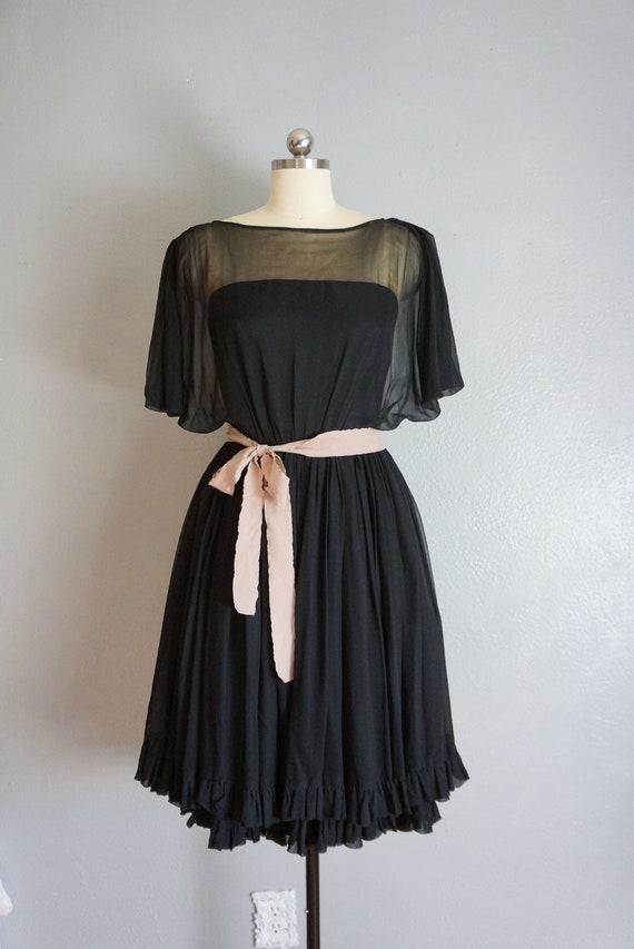 1950s Claudia black silk chiffon dress   vintage … - image 2