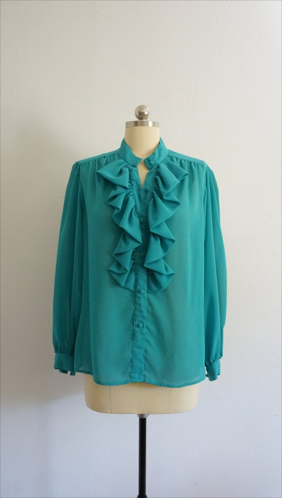 1980s Jo ruffle blouse | vintage blue top | vinta… - image 3