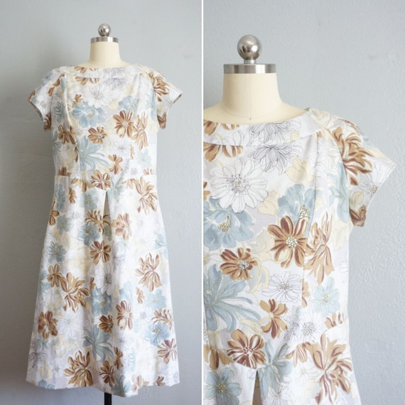 1960s Muted Tones floral print dress | vintage 60s