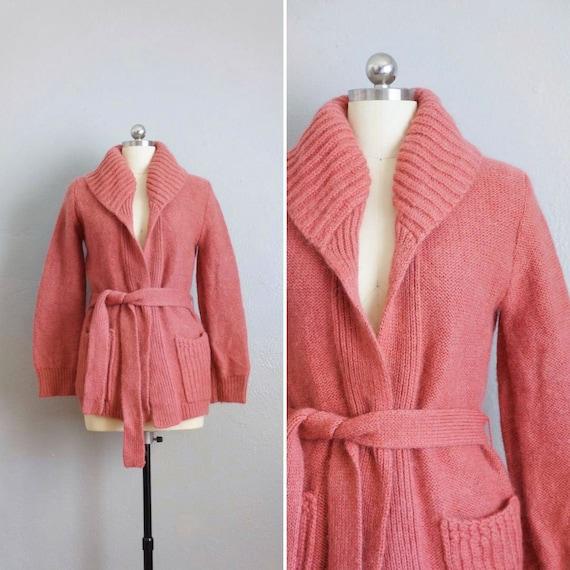 1970s Rose Blush cardigan sweater   vintage 70s pi