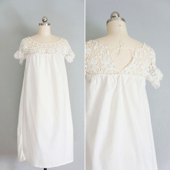edwardian Delicate White cotton crochet gown | ant