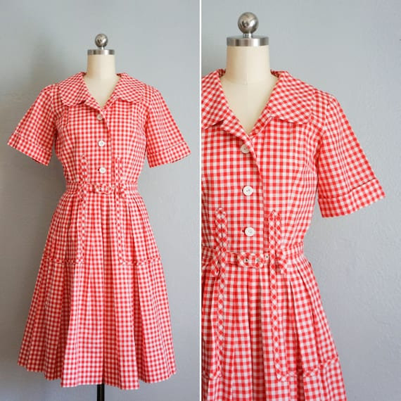1950s Lunching Lakeside gingham cotton dress | vin
