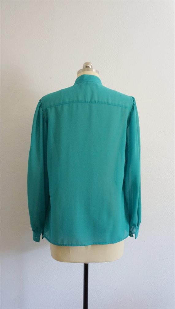 1980s Jo ruffle blouse | vintage blue top | vinta… - image 4